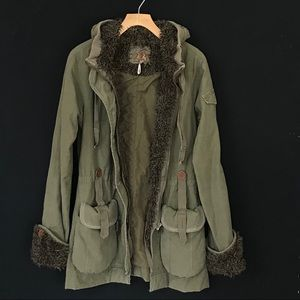 Anthropologie Twill 22 Utility Jacket Sherpa Coat